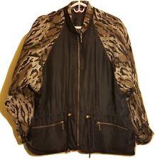 NORTHERN STYLE Original 80's Vintage 100% Silk Active Jacket Black Brown Leopard