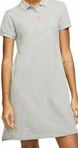 Nike Golf Womens Polo Dress BV0193 021 Grey with Collar Pockets Gray Dri Fit New