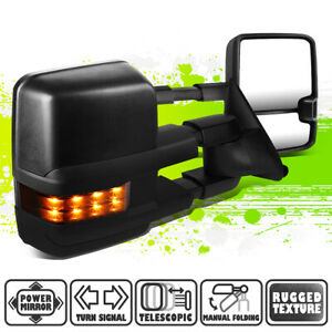 Powered Side Tow Mirrors w/Smoked LED Signal for Chevy GMC C/K 1500-3500 88-02