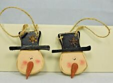 Set of two distressed wood snowman face ornaments - New by Honey & Me #C14629