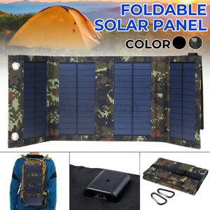 120W Folding USB Solar Panel Portable Power Phone Charger Camping Travel