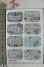 SHABBY ROSE Collection - Word Tags x 8 Sticker Pack 45-30mm by Fab Scraps