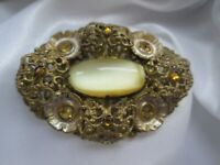 Vintage Czech Lemon Moonstone Citrine Glass Gold Tone Flower C Clasp Brooch Pin