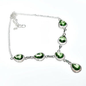 "Green Amethyst Gemstone Handmade 925 Sterling Silver Jewelry Necklace Sz-18"""
