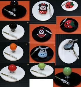 Wall hanger mini-mouse, strawberry, black, lime green orange and red round plate
