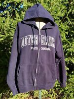 OUTER BANKS NORTH CAROLINA NAVY EMBROIDERED FULL ZIP HOODIE MENS LARGE