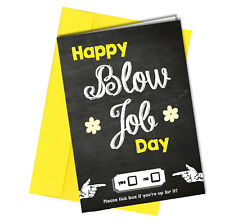 #31 Blow Job Day VALENTINES GREETING CARD Girlfriend ADULT HUMOUR Funny Rude