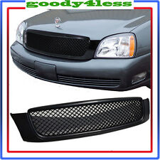 For 00-05 Cadillac Deville Matt Black Mesh Grille Replace Hood Bentley Style