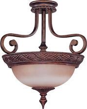 Dark Plum Bronze And Amber Bisque Glass Semi Flush Ceiling 3 Light Fixture