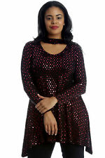 New Ladies Top Plus Size Swing Style Polka Dot Foil Womens Tunic Choker Neck