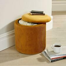 Iris Velvet Mustard Ottoman Storage Box Pouffe Stool Footstool Storage Bench