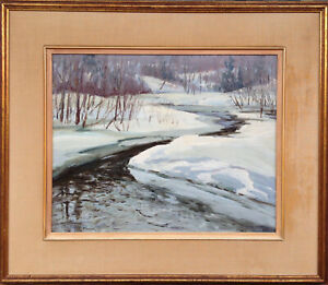 CANADIAN GROUP OF SEVEN ERA IMPRESSIONIST WINTER LANDSCAPE OIL PAINTING