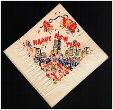 Happy New Year 1950s Unused Paper Napkin People In Hats Noise Makers Bells Crowd