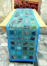 Handmade Indian sari patchwork table Runner Tapestry Embroidery Dining table 471