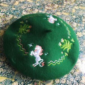 Unicorn Embroidered Beret Hat Winter Kawaii Mori Fairy Kei Harajuku Cottagecore