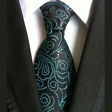 (NT151) Nero Verde Floreale Uomo Cravatta Matrimonio in tessuto ufficio Festa Formale Uomini Cravatta