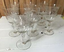 7 Vintage Mid-Century Glasses, Etched Crystal, Footed, Aperitif, Cordials, Wine