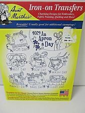 Aunt Martha's Iron On Transfers #4029 An Apron A Day New Made In USA