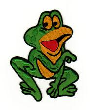 aa54 Grüner Frosch Frog Comic Aufnäher Bügelbild Patch Kinder Bügelsticker DIY