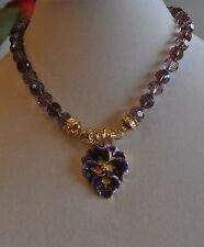 KIRKS FOLLY PERSIAN VIOLET PANSY WITH MAGNETIC DUSTY PURPLE NECKLACE  GOLD TONE