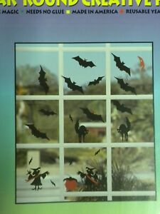 Bats 'N Cats Halloween Window Clings Vinyl Decals Vintage Stik-EES Witches NEW