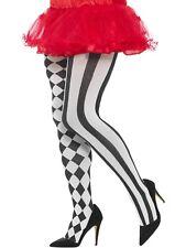Harlequin Tights Plus Size Ladies Black White Stripe Check Fancy Dress Hosiery