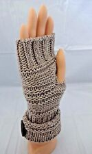 Fingerless beige gloves wool acrylic knit brown button text