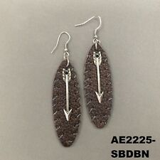 Bohemian Style Brown Faux Leather Silver Arrow Charm Drop Dangle Hook Earrings