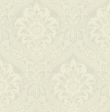 Traditional High End Victorian Damask Gunmetal Cream Gray Double Roll Wallpaper