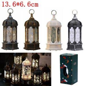 Xmas Christmas Lantern Ornaments Santa Claus Elk Table Lamp LED Light Up Decor