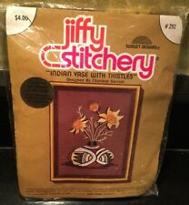 "Vintg Sunset Designs Jiffy Stitchery Kit # 292 ""Indian Vase with Thistles"" NOS"