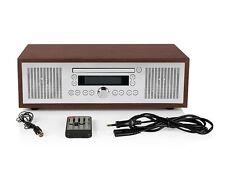 Bluetooth® Stereo Vintage Style CD-player, FM radio tuner, AUX jack, alarm clock