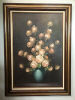Oil Painting of Flower Bouquet in Vase By A Julia , signed & Framed  Lovely.