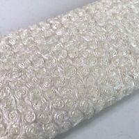 """Cream White Rosette Ribbon 3D Floral Fabric Remnant  50"""" x 70"""" Craft Sewing"""