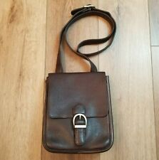 Eddie Bauer Brown Pebbled Leather Crossbody Messenger Field Travel Bag