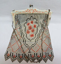 New listing Antique Metal Mesh & Metal Frame Lined Purse early 1900's / Free Shipping