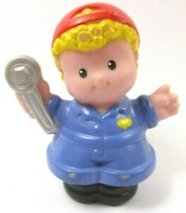 Fisher Price Little People Mecanicien Blond Mechanic Car Wash Garage Mattel 2003