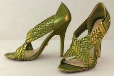 L.A.M.B. Metallic Green Leather Heels Woven Straps Size 8M EUC  #8