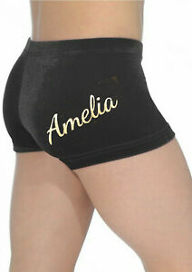 NEW velour gymnastic hipster shorts with name in glitter print  ALL SIZES