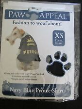 BRAND NEW PAW APPEAL DOG/PUPPY PET FASHION NAVY BLUE & GOLD PRINCE SHIRT SIZE XS
