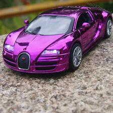 Bugatti Veyron 1:32 Model Car Toys Sound&Light Gifts Alloy Diecas Purple Plated
