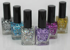 Yesensy PACK of 6 Glitter effect Nail Varnish Polish 6 Shades 14ML Premium LOT