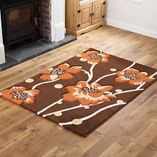 Brown Terracotta Orange Small Floral Carved Rugs Thick Modern 60 X 120cm Cheap