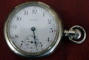 Antique Elgin Nat'l watch Co. pocket watch, 18 size, model 2-4, OF, LS, 7J, 1910