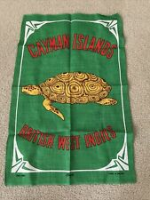 "New listing Vintage Irish Linen green ""Cayman Islands"" Great British Indies 19"" x 20"""