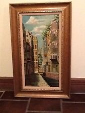 Original Vintage Amsterdam Canal Scene Framed Painting By Steen Hoven