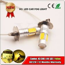 2X Car DC12V H3 4W COB LED Bright Yellow Fog Tail Turn DRL Light Lamp Bulb 450LM