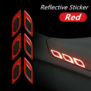 6Pcs 3D Reflective Stickers Red Car Vent Edge Bumper Carbon Fiber Pattern Decals