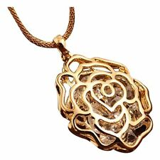 CS 5x Women Gold Hollow Rose Flower Rhinestone Pendant Long Chain Necklace X6o6