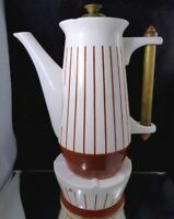 Vintage Mid Century Ceramic Coffee Pot With Warmer White Brown Striped Retro